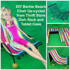 DIY Barbie Doll Beach Chair From Dish Rack And Tablet Case