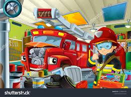 100 Fire Truck Parking Games Cartoon Mechanic Workshop Man Stock Illustration