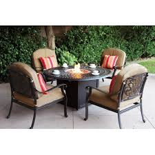 Patio Conversation Sets With Fire Pit by Darlee Elisabeth 5 Piece Cast Aluminum Patio Fire Pit Conversation