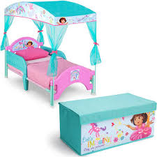 nick jr dora the explorer toddler canopy bed with fabric toy box