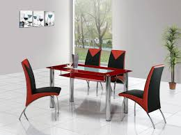 Awesome Red Dining Table Design Come With Glass Top And Also Four Metal Tube Legs In