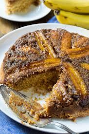 bananen erdnussbutter verkehrter kuchen einfaches