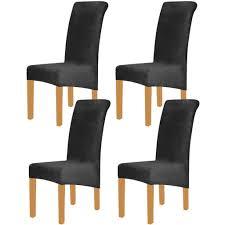 samt elasthan stuhlhussen für esszimmer 4er set soft stretch stuhlschutz schonbezüge abnehmbar und waschbar groß schwarz