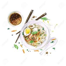 Pho Soup Watercolor Food Collection Stock