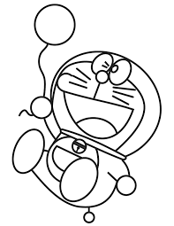 Doraemon Holding Balloon Coloring Page