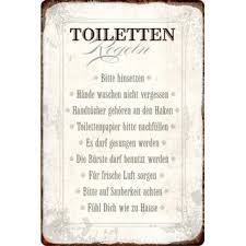 möbel wohnen blechschild 30 x 20 cm badezimmer regeln