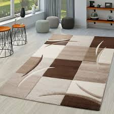 details zu teppich wohnzimmer modern palermo mit konturenschnitt in beige creme braun