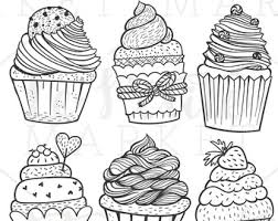 Drawn cupcake clipart 9