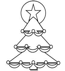 Easy Christmas Tree Coloring Pages For Kids Printable
