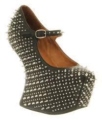 womens jeffrey campbell prickly wedge black leather heels ebay
