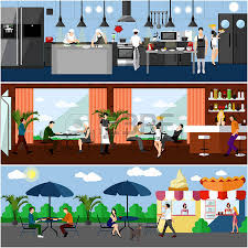 Vector Banner With Restaurant Interiors Kitchen Dining Room And Street Cafe Illustration