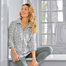 robe de chambre polaire femme zipp blancheporte veste polaire zippée homewear nuit