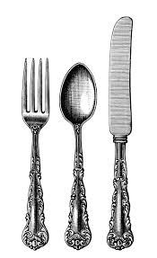 vintage cutlery clipart black and white clip art old fashioned spoon fork knife image