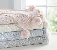 Monique Lhuillier Cable Knit Pom Pom Baby Blanket