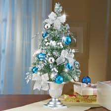 Frosted Blue And Silver Tabletop Christmas Tree