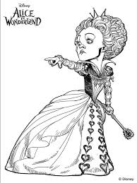 The Red Queen Of Hearts From Tim Burtons Alice In Wonderland Coloring Pages Colouring Adult Detailed Advanced Printable Kleuren Voor Volwassenen Coloriage