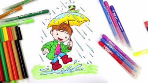 Coloring Kid Playing In The Rain Play Pages For Kids Muddy Puddles