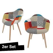 patchwork stuhl bunt 2er set schalenstuhl lehne armlehne