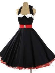 1950s Inspired Black Full Circle Halter Swing Dress W Polka Dot Collar