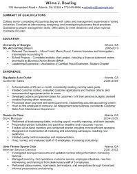 Sample Resume For Accounting Internship Account New Intern Examples Objective