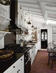 Black And White Galley Kitchen French Vintage Lights Brick Floor Open Shelvingdo Dutch Door To Highlight
