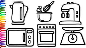 Coloring Kitchen Appliances And Fresh Vegetables