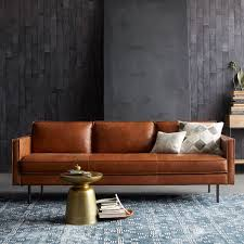 Rustic Living Room Design With Unusual West Elm Camel Leather Couch Tan Faux Cover