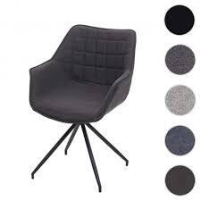esszimmerstuhl hwc h44 küchenstuhl stuhl drehbar auto position metall stoff textil dunkelgrau fuß schwarz