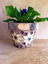 Mosaic Planter Rustic Flower Pot Outdoor Patio Indoor Herb Handmade Kitchen Terracotta