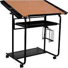 adjustable drawing and drafting table with black frame and dual