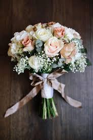 Rose Gypsophila White Blush Bouquet Ribbon Bow