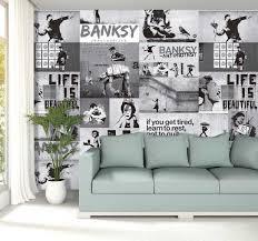 vliestapeten kunst banksy schwarz weiß