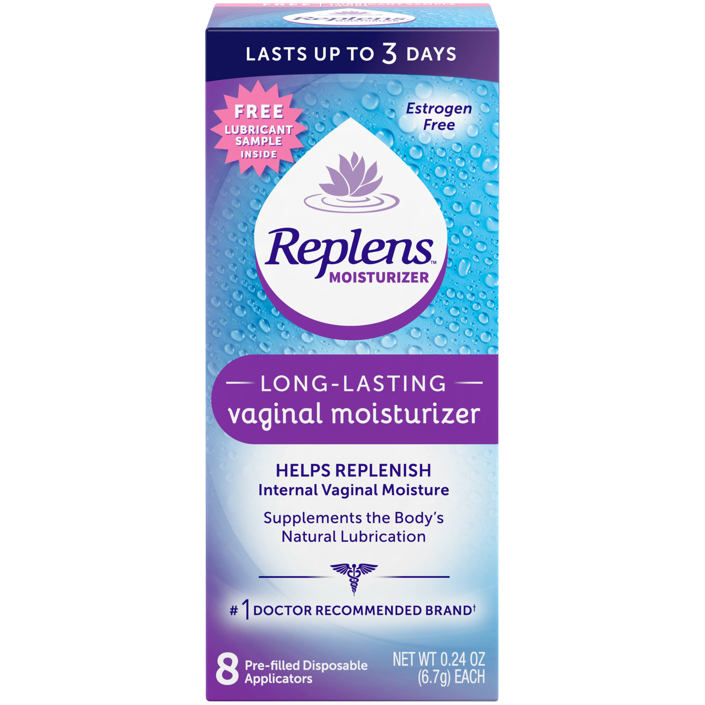 Replens Pre-Filled Disposable Applicators Long-Lasting Vaginal Moisturizer - 8ct, 0.24oz
