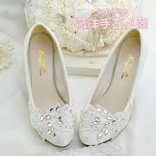 Handmade Ivory Crystal Lace Wedding Shoes Flat 4 5cm 8cm Kitten