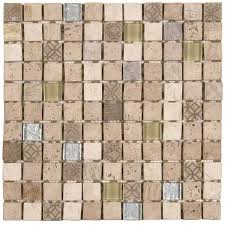 beige glass mix marble mosaic 1 x1 sheet 12 x12 product