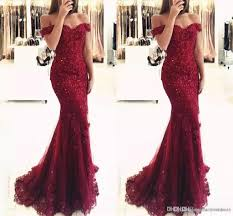 elegant burgundy off the shoulder beaded lace mermaid prom dresses