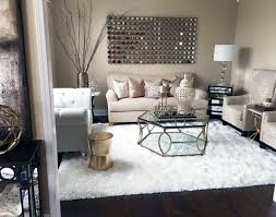 My Formal Living Room With Copper Accents And White Faux Fur Rug