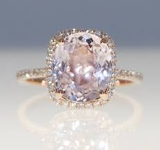 Ring Of 32ct Cushion Cut Sapphire In 14k Rose Gold Etsy