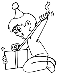 Birthday Coloring Page Boy Opening Present