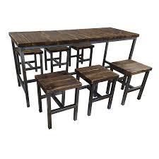 set tisch hocker stuhl bank sambor e möbel loft vintage bar industrie esszimmer design handmade holz metall set t160x60 cm 6 hocker
