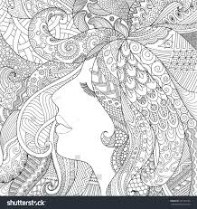 Zendoodle Design Of Girl Sleeping With Shadow Effect For Adult Coloring Book Pages Anti Stressa