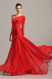 stylish red one sleeve lace applique evening gown 02153902