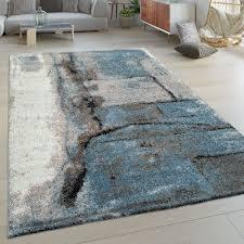 kurzflor wohnzimmer teppich stein muster