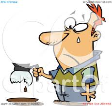 Cartoon Of A Tearing Man Holding Broken Coffee Pot