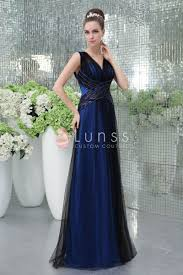 v cut royal blue fashion long evening dress with black net overlay
