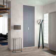 portes de placard pliantes gris métal 70 x 242 cm castorama