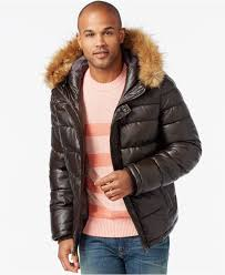 tommy hilfiger faux leather puffer hoodie jacket in brown for men