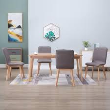 esszimmerstühle 4 stk taupe stoff und massivholz eiche