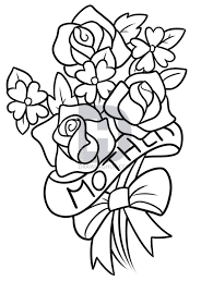 Description Here is the line art for when you are done Now you can color in your Mother s Day bouquet before you show the drawing to your mother