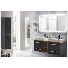 badmöbel set anthrazit mit landhaus eiche dabo 04 doppelwaschtisch led spiegelschrank hochschrank b h t 210 200 50 cm
